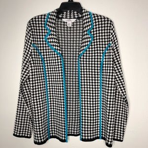 Ming Wang Houndstooth Open Jacket Med